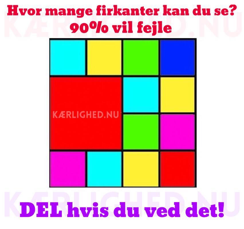 Hvor mange firkanter kan du se? - DEL hvis du ved det!