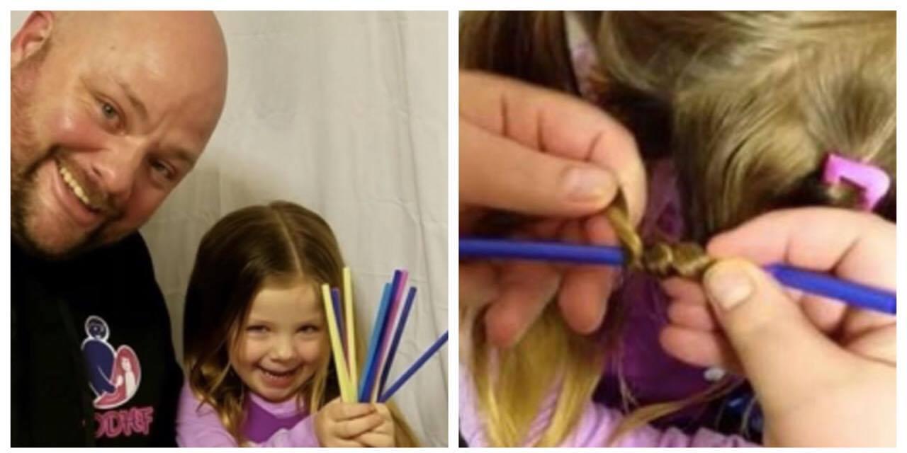Faren skal sætte datterens hår - med sugerør og elastikker, kan det bestemt ikke gå galt.