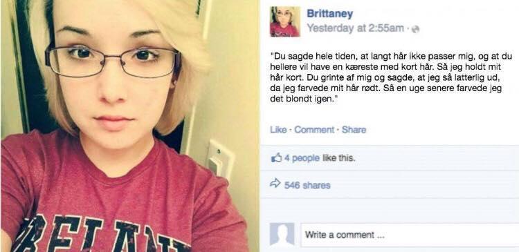 Kæresten udsatte hende for psykisk vold hver dag - så skrev hun et opslag på Facebook