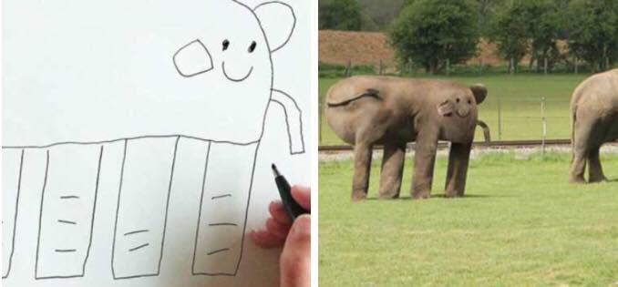 7 billeder der viser hvordan dyr ville se ud hvis det var børnene der bestemte.