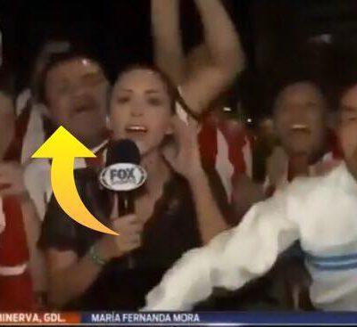 Fodboldfan tager kvindelig journalist på numsen - så får han som fortjent