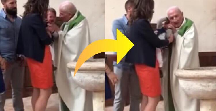 Præst mister tålmodighed under dåb da barnet begynder at græde - reaktionen er nu gået viralt!