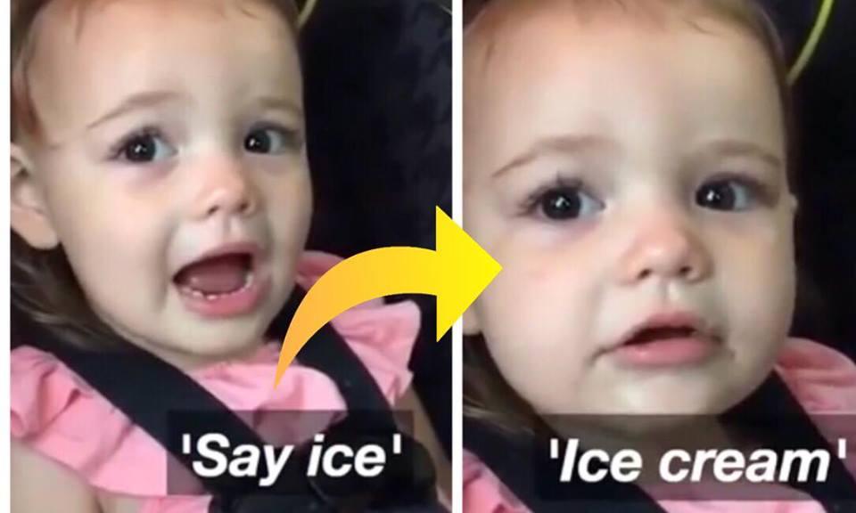 Lille pige har svært ved at sige ''ice cream'' - hendes skønne reaktion er nu set af millioner