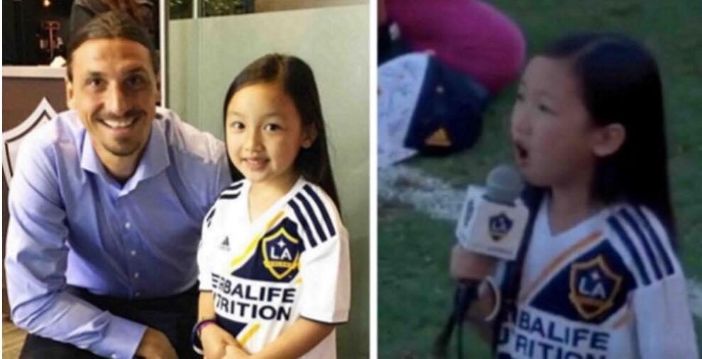 7-årig pige stjal al opmærksomhed til fodboldkamp - Se fodboldspilleren Zlatans rørende reaktion