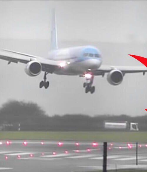 Chokerende video er gået viralt: charterfly laver sidelæns landing i stormvejr