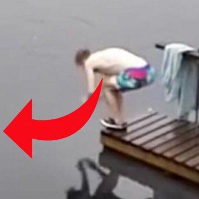 Mand svømmer en tur i søen - Nu er videoen blevet et viralt hit på nettet
